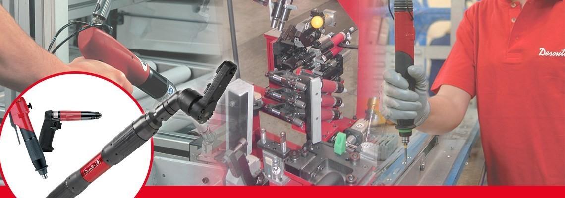 Společnost Desoutter Industrial Tools vyvinula rozsáhlou řadu šroubováků s úhlovou řadou bez vypínání, které umožňují dosáhnout krátkou servisní dobu a nízkou reakční sílu u tvrdých spojů.